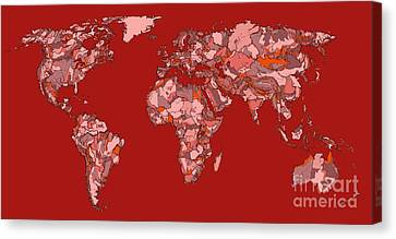 World Map In Vivid Red Canvas Print