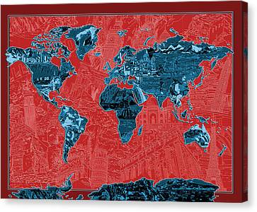 Colosseum Canvas Print - World Map Landmark Collage 11 by Bekim Art