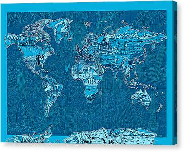 World Map Landmark Collage Blue Canvas Print