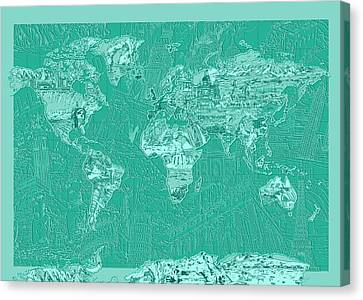 Colosseum Canvas Print - World Map Landmark Collage Green by Bekim Art