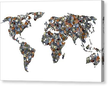 World Map Made Up Of Coins Canvas Print by Victor De Schwanberg
