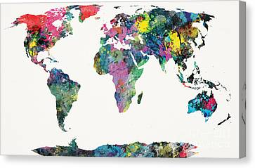 Country Canvas Print - World Map by Mike Maher