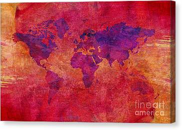 Canvas Print featuring the digital art World Map  by Mohamed Elkhamisy