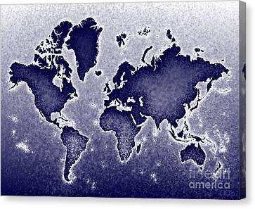World Map Novo In Blue Canvas Print by Eleven Corners