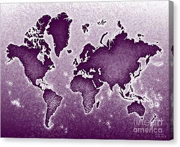 World Map Novo In Purple Canvas Print by Eleven Corners
