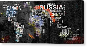 World Map Canvas Print - World Map Of Countries by T Lang