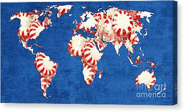 World Map Of Peppermints Canvas Print by Andee Design