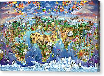 World Map Of World Wonders Canvas Print by Maria Rabinky