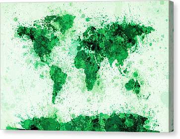 World Map Paint Splashes Green Canvas Print
