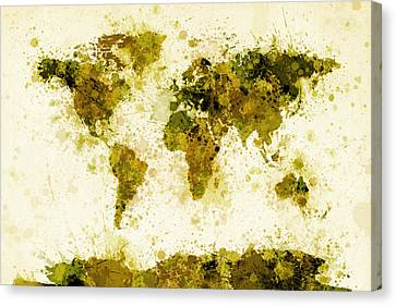 World Map Paint Splashes Yellow Canvas Print