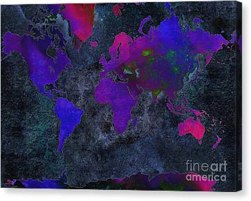 World Map - Purple Flip The Dark Night - Abstract - Digital Painting 2 Canvas Print by Andee Design