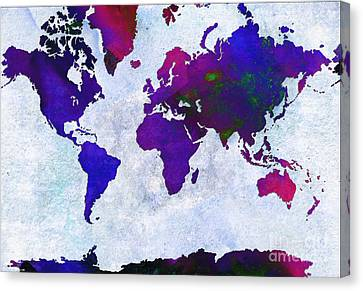 World Map - Purple Flip The Light Of Day - Abstract - Digital Painting 2 Canvas Print by Andee Design