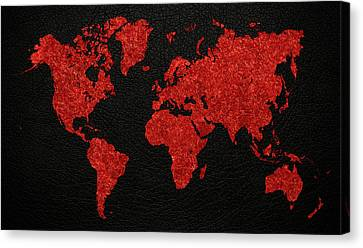 World Map Red Fabric On Dark Leather Canvas Print by Design Turnpike