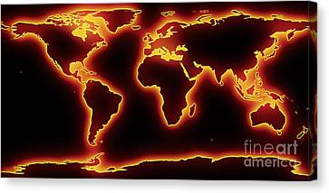 World Map Red Glow Canvas Print by Pixel Chimp