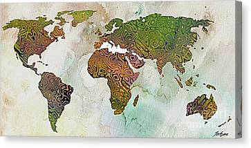 World Map Relief Canvas Print by Dragica  Micki Fortuna