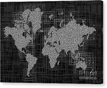World Map Rettangoli In Black And White Canvas Print