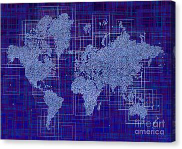 World Map Rettangoli In Blue And White Canvas Print by Eleven Corners