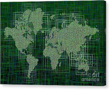 World Map Rettangoli In Green And White Canvas Print by Eleven Corners
