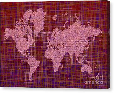 World Map Rettangoli In Pink Red And Purple Canvas Print