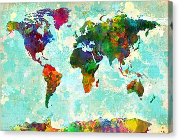 World Map Canvas Print - World Map Splatter Design by Gary Grayson