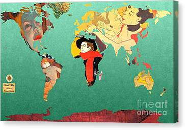 Toulouse-lautrec 1  World Map Canvas Print by John Clark