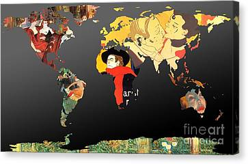 Toulouse-lautrec 2  World Map Canvas Print by John Clark