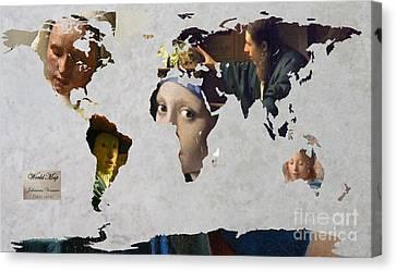 World Map  Vermeer 1 Canvas Print