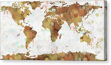 World Map Watercolor 3 Canvas Print by Paulette B Wright