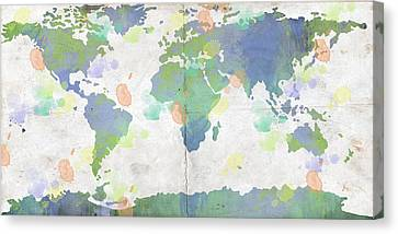 World Map Watercolor 4 Canvas Print by Paulette B Wright
