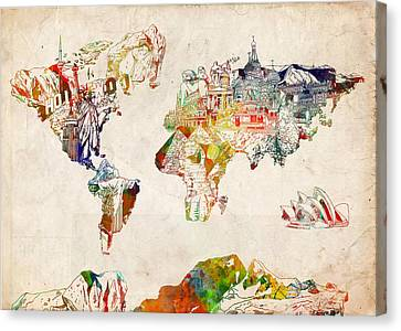 Colosseum Canvas Print - World Map Watercolor 5 by Bekim Art