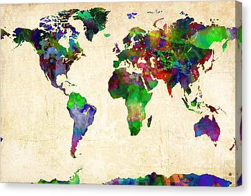 World Map Watercolor Canvas Print by Gary Grayson