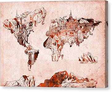 Colosseum Canvas Print - World Map Watercolor by Bekim Art