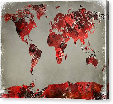 World Map - Watercolor Red-black-gray Canvas Print by Paulette B Wright