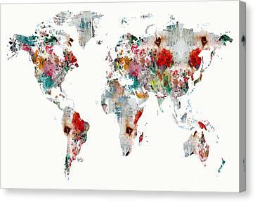 World Map Watercolour Canvas Print by Bri B