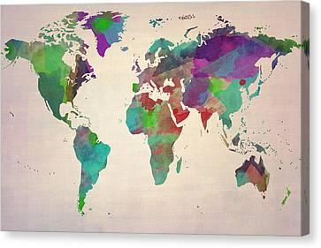 World Map Watercolour Painting Canvas Print by Eti Reid