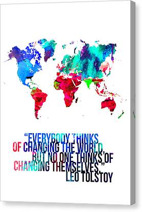 World Map With A Quote 1 Canvas Print by Naxart Studio