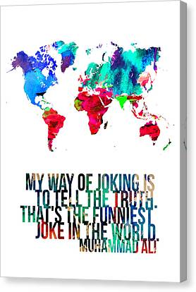 World Map With A Quote 2 Canvas Print by Naxart Studio