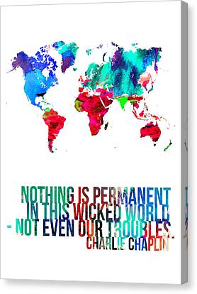World Map With A Quote 3 Canvas Print by Naxart Studio