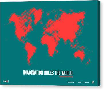 World Map With A Quote 6 Canvas Print by Naxart Studio