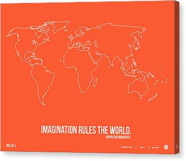 World Map With A Quote 7 Canvas Print by Naxart Studio