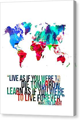 World Map With A Quote Canvas Print by Naxart Studio