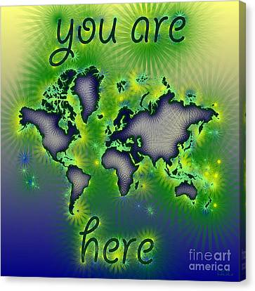 World Map You Are Here Amuza In Blue Yellow And Green Canvas Print by Eleven Corners