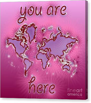 World Map You Are Here Amuza In Purple And Pink Canvas Print by Eleven Corners