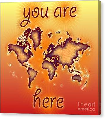 World Map You Are Here Amuza In Red Yellow And Orange Canvas Print by Eleven Corners