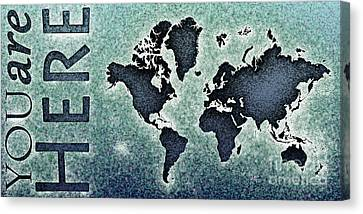 World Map You Are Here Novo In Black And Blue Canvas Print