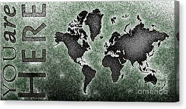 World Map You Are Here Novo In Black And Green Canvas Print by Eleven Corners