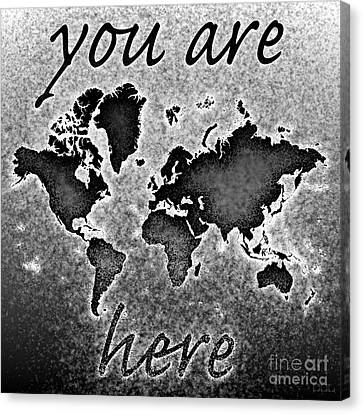 World Map You Are Here Novo In Black And White Canvas Print