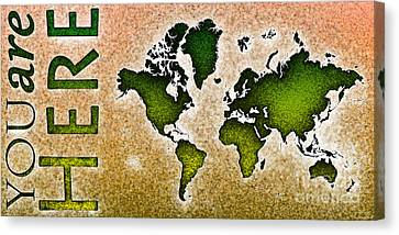World Map You Are Here Novo In Green And Orange Canvas Print