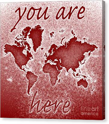 World Map You Are Here Novo In Red Canvas Print by Eleven Corners