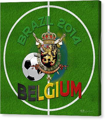 World Of Soccer 2014 - Belgium Canvas Print by Serge Averbukh